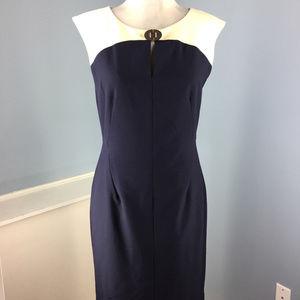 Ellen Tracy M 8 Beige Navy blue Dress Colorblock